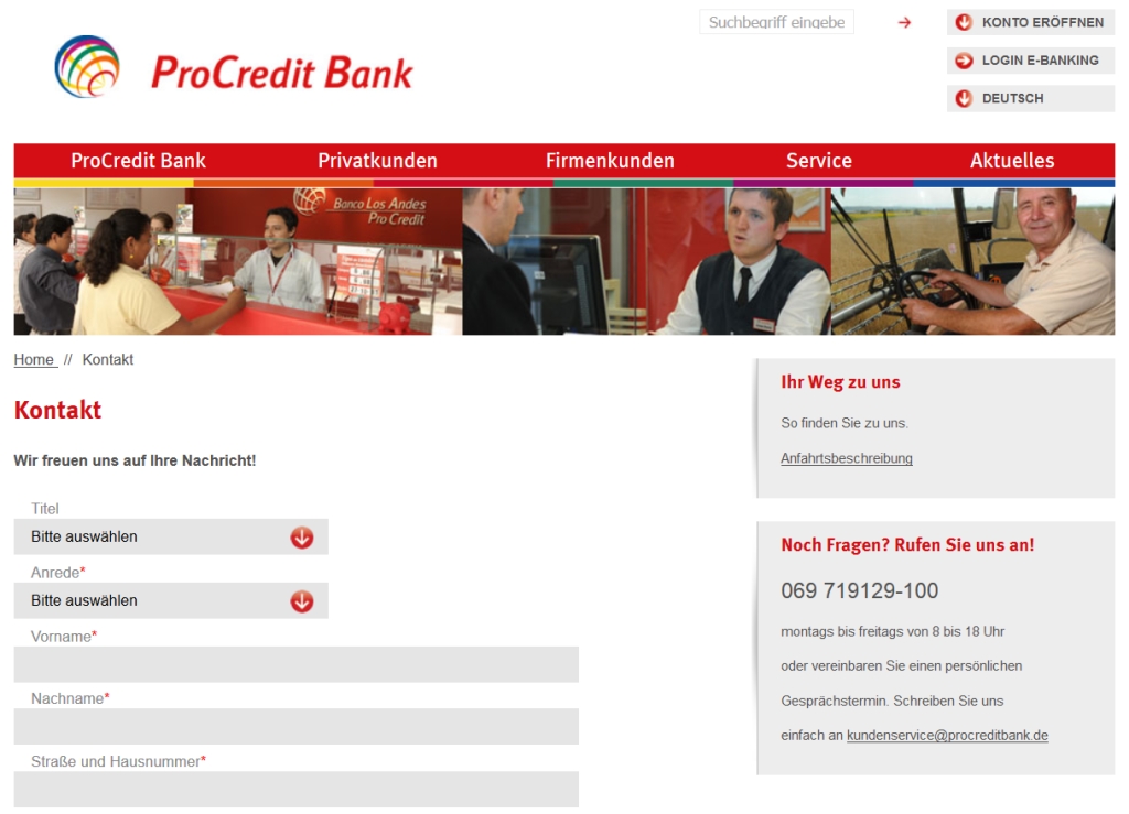 Der Support der ProCredit Bank