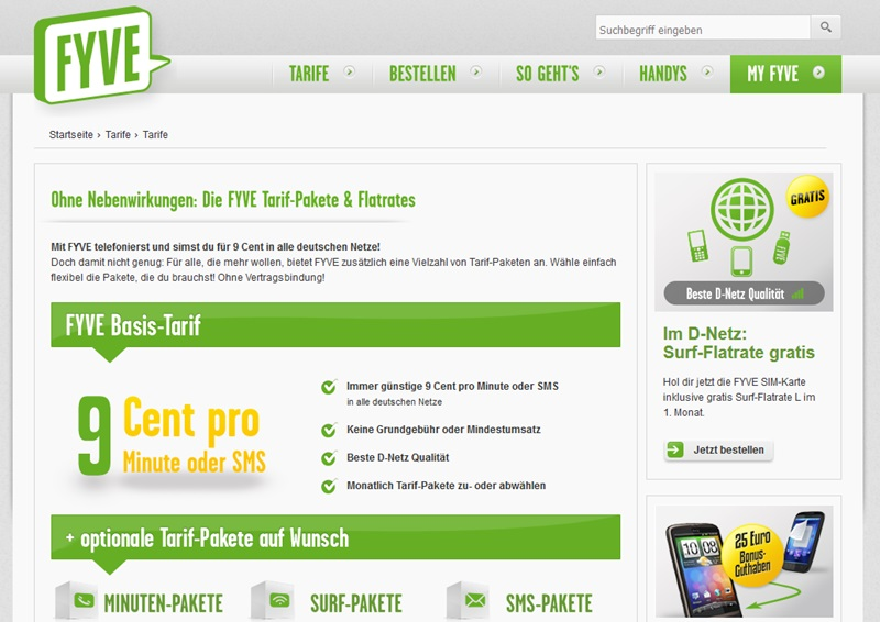 Screenshot Zubuchoptionen FYVE Prepaid