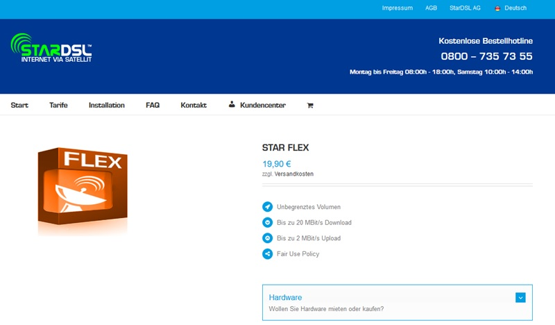 Screenshot Konditionen zu StarDSL Flex