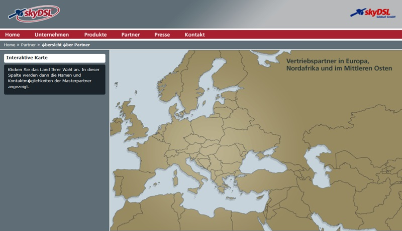 Screenshot Europakarte skyDSL Global GmbH