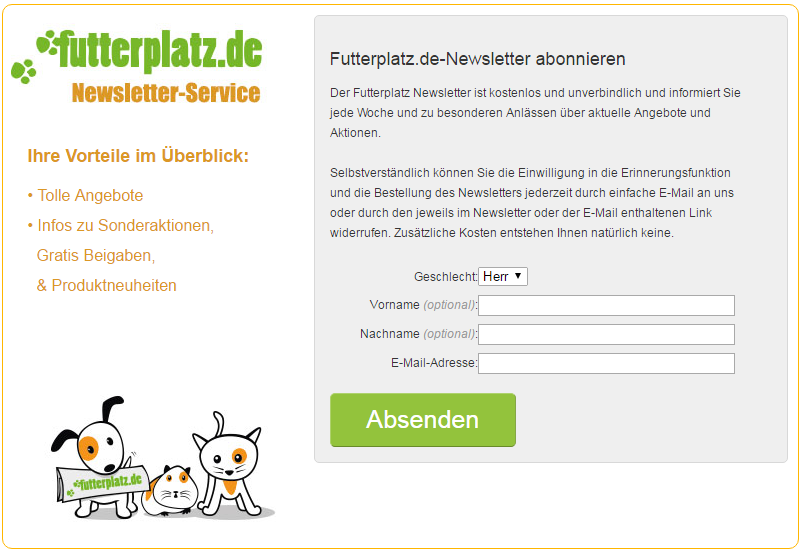 futterplatz.de - Newsletter