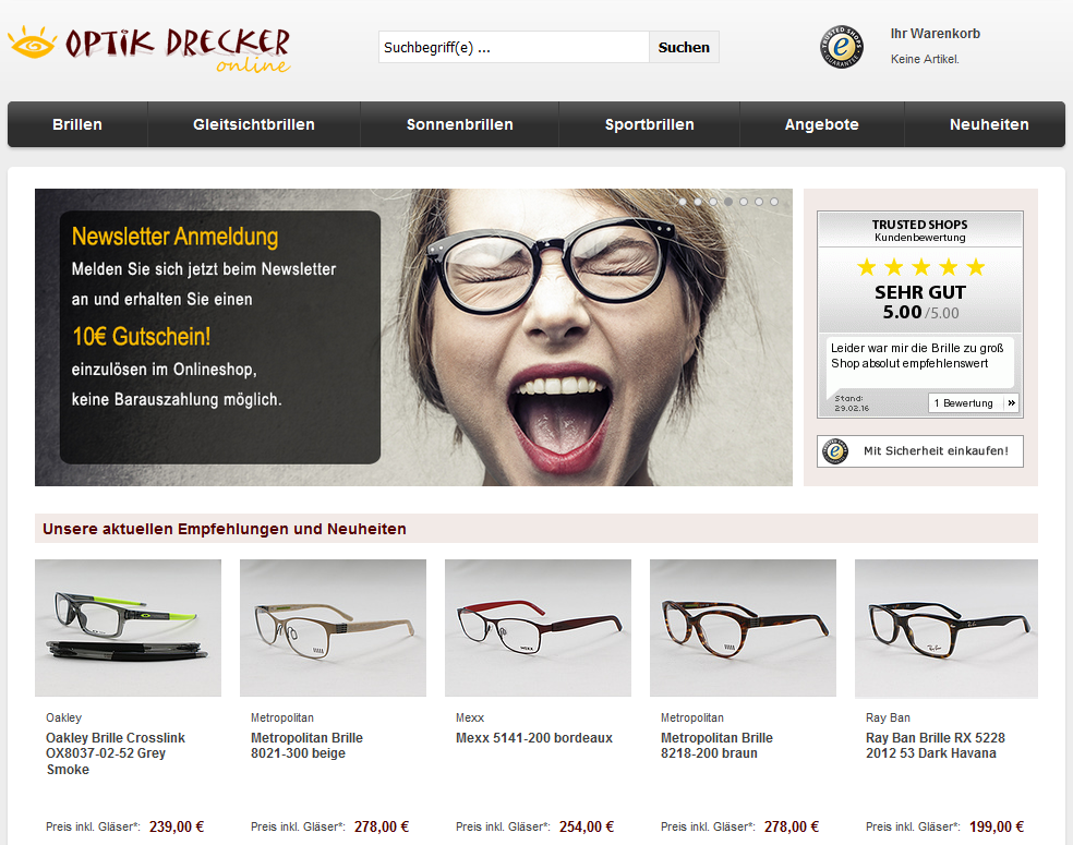 Homepage von Optik Drecker