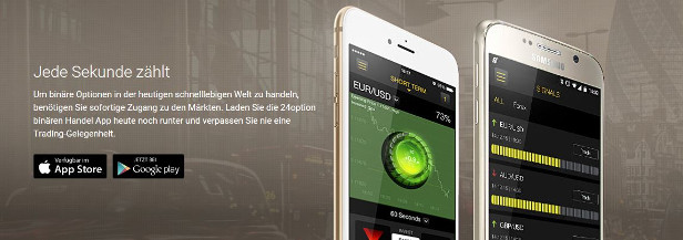 24option Trading Portal Mobile App-Angebot