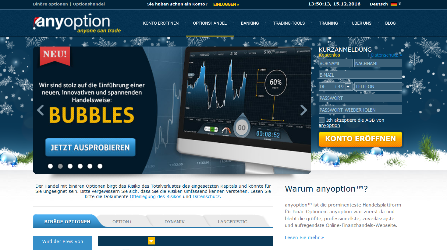 Bubbles Trading bei anyoption