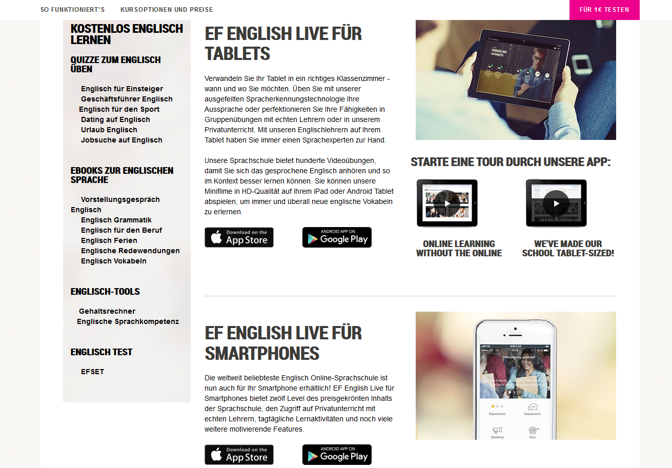 Apps bei EF English