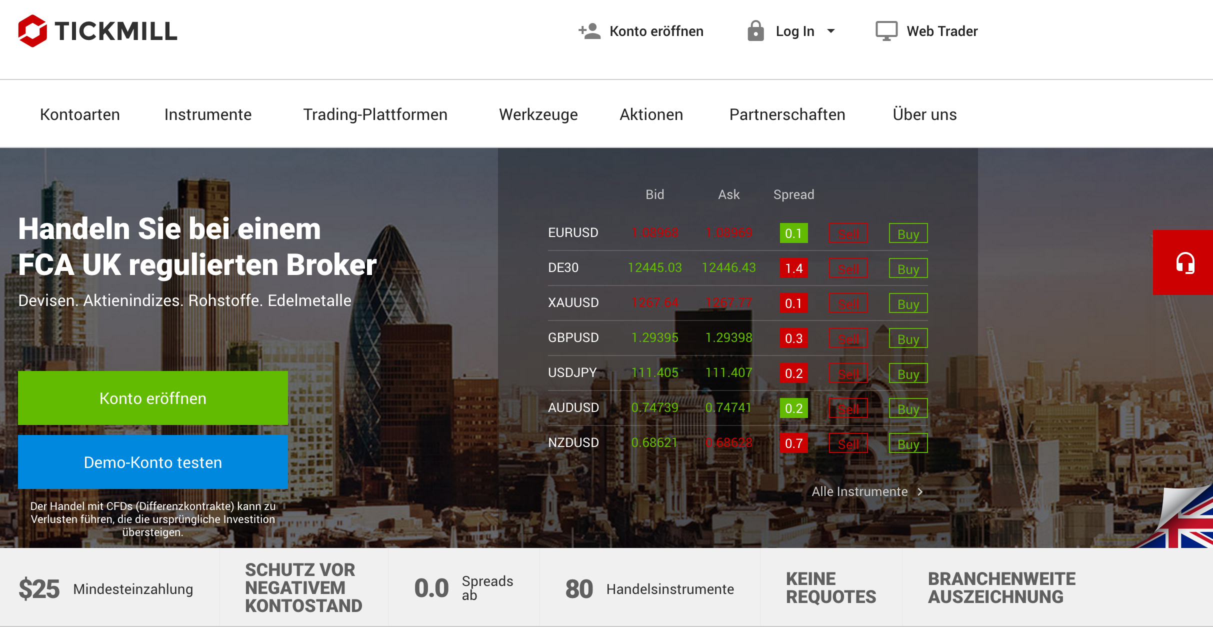 Die Website des Brokers Tickmill
