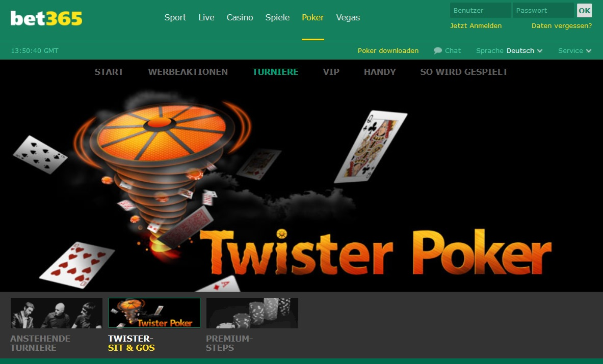 Überblick bet365 Twister Sit & Go