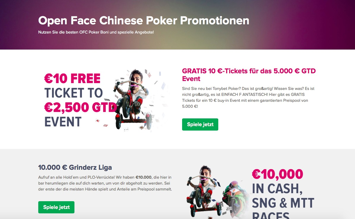 Tonybet Poker Promotionen