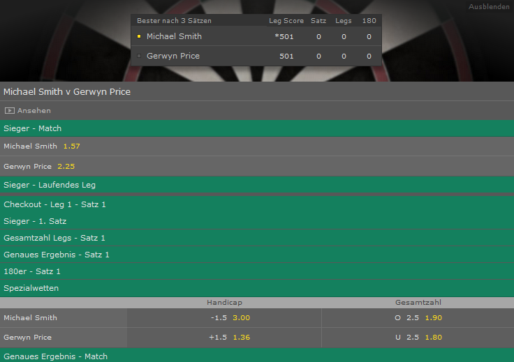 Handicap Wette Strategie bet365 Darts live