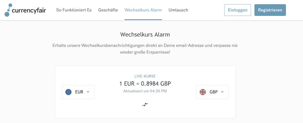 CurrencyFair Wechselkurs-Alarm